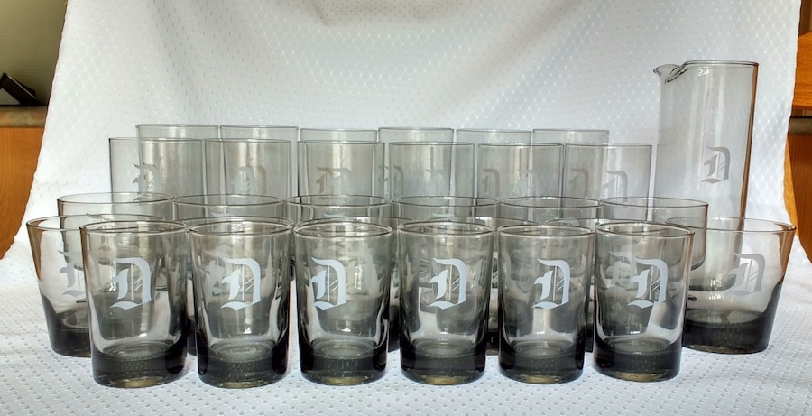 Smoked Glass beverage glass set with carafe