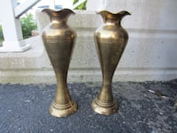 Pair of Solid brass Hammered vases made in India Kitchener, ON N2E 4C7, Canada