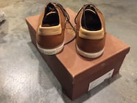 pair of brown Coach leather low-top sneakers with brown box ROCKVILLE