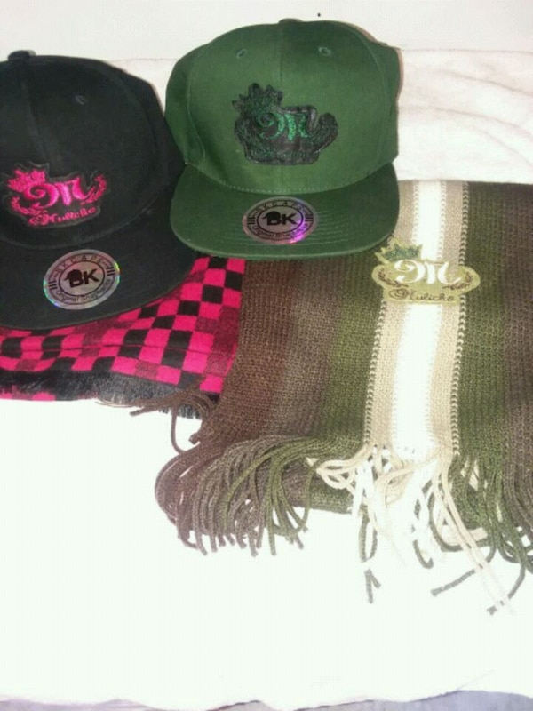 green and black knit cap