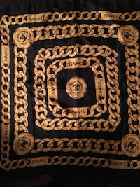 chanel black and brown vintage scarf