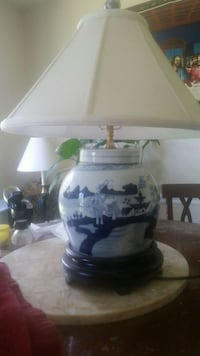 white and blue ceramic table lamp base with white  Gaithersburg, 20878