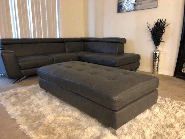 Magnificent Gray Bonded Leather Sectional Includes Ottoman Theyellowbook Wood Chair Design Ideas Theyellowbookinfo