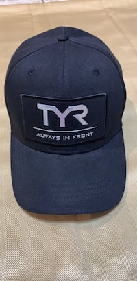 TYR Always In Front M/L Fitted Hat Cap Black Silver Metallic Logo NEW No Tags Roanoke, 24018