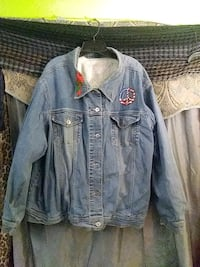 Cardinal and peace sign  denim Jacket with crochet lining size 3x