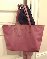 Used gucci pink logo tote bag