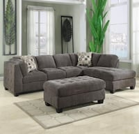 gray fabric sectional sofa with ottoman Downey, 90241