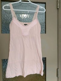 Pink top with lace straps and some silk size small