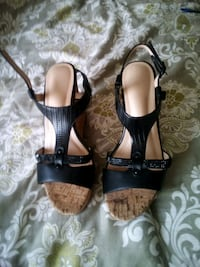 pair of brown leather open-toe heeled sandals Panama City, 32401