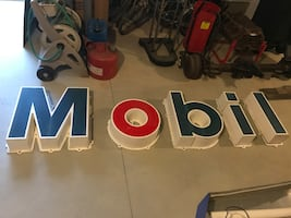 Mobil letters/sign from a gas station