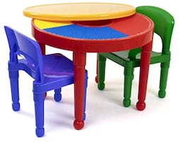The Tot Tutors Kids 2-in-1 Plastic LEGO-Compatible Activity Table