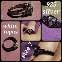 White topaz black .925 silver cross in heart ring