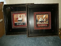 two framed Pasta and Barista restaurant signage