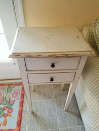 white wooden 2-drawer nightstand Sterling