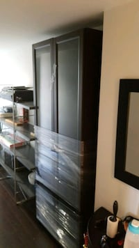 Bookcase, IKEA, dark brwn 31W 79H, Glass doors, 4  New Westminster, V3M