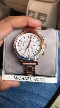 Michael Kors Women's sofie Rose Gold-Tone Rainbow Glitz Watch Columbus, 31907