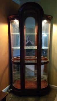 brown wooden framed glass display cabinet Odenton, 21113
