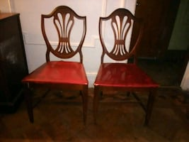 Pair of vintage wooden chairs.