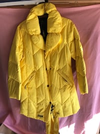 yellow button-up rain coat