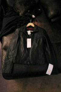 black leather zip-up jacket Calgary, T3A 2Z2