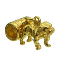 Bulldog 3D Pug Charm Gold plated real sterling silver Dog European Bead Jewelry Fits Pandora Bracelet Brampton