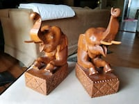 Hand carved wood elephant bookends