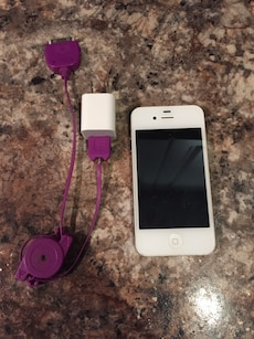white iPhone 4 with charger adapter