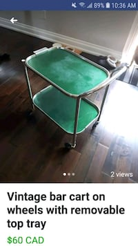 Vintage Bar cart with removable top tray Mississauga, L5N