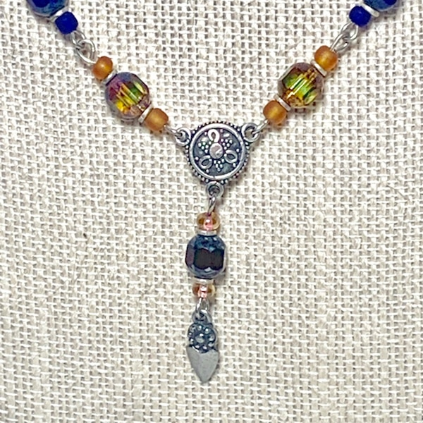 Vintage Sterling Silver Beaded Chakra Necklace 19c69867-ee96-4a09-850a-b2b5eb2638ec