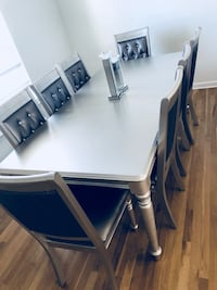 Rectangular silver wooden table with 8 chairs Penfield, 14526