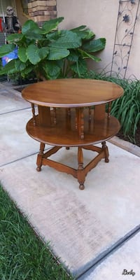 "VINTAGE SOLID WOOD ROUND ACCENT TABLE 28""H × 30""RD Corona, 92881"