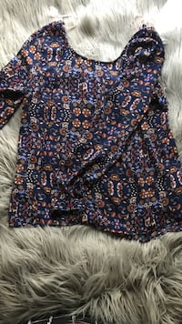 blue, red and white floral scoop-neck blouse Ceres, 95307