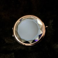 Silver and Blue Gem Compact Mirror with Gift Box San Antonio