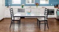 Crate and Barrel White Marble Table w/ Chairs