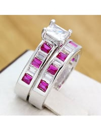 Princess cut hot pink ruby 925 solid silver ring set size 8 44 km