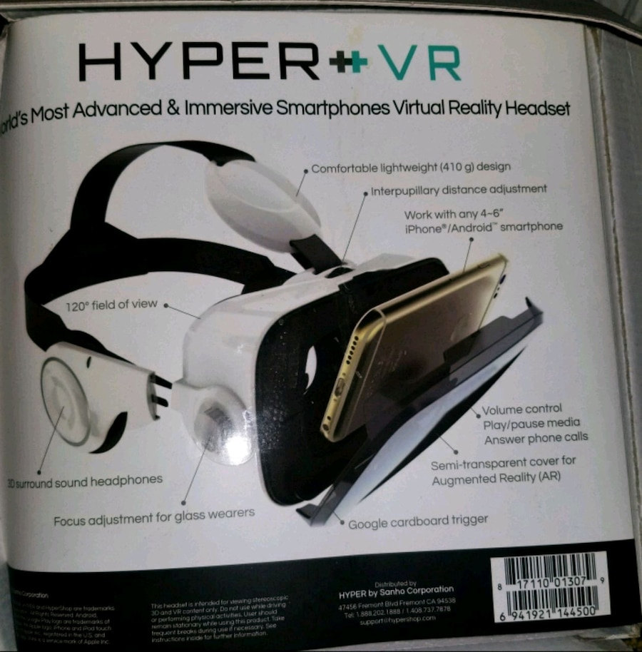 Hyper VR Virtual Reality Headset for 4-6in Smartphone White iphone//android