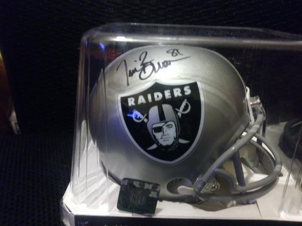 new concept cfe6c 2bb49 TIM BROWN Signed AUTOGRAPHED Oakland RAIDERS Mini-helmet w/ BECKETT COA