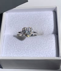 White Sapphire Heart Engagement Ring, Set In Sterling Silver 925 New!! Redlands, 92374