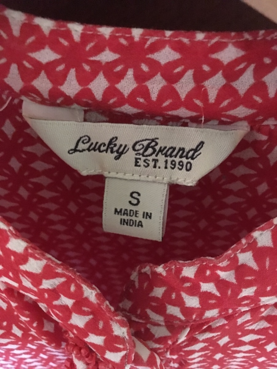 Red and white blouse Lucky Brand size small  - Sierra Madre