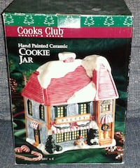 COOKS CLUB Ceramic Christmas Bakery Cookie Jar NIB Silver Spring