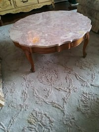 brown wooden table with white floral padded chair Gaithersburg, 20878