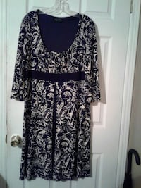 black and white floral long-sleeved dress York, 29745