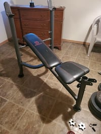 Weight bench with weights and bars