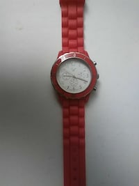 red chronograph watch
