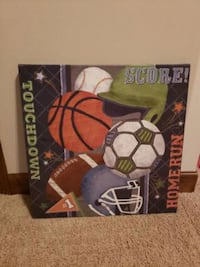 Sports theme canvas wall hanging
