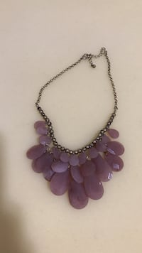 silver-colored and Amethyst bib necklace New York, 10033
