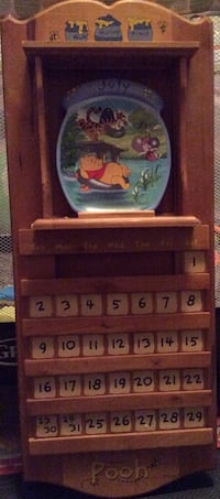 Wooden Winnie The Pooh Calendar. Includes a plate