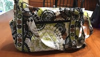 White,      Vera Bradley green, black and brown floral print sling bag