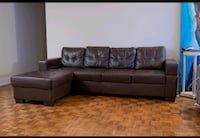 FREE DELIVERY - BROWN LEATHER SECTIONAL - GOOD CONDITION