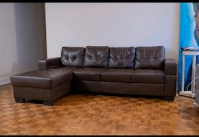 FREE DELIVERY???????? - BROWN LEATHER SECTIONAL - GOOD CONDITION